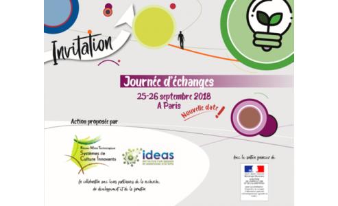 25 & 26/09/2018 : Journées d'échanges organisées par le RMT SdCi et le réseau IDEAS